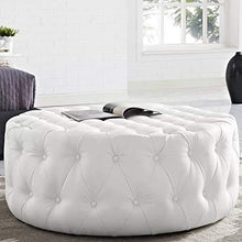 Load image into Gallery viewer, LAKDI-The Furniture Co. Amour Cocktail Round Ottoman/Pouffe (White) - Home Decor Lo