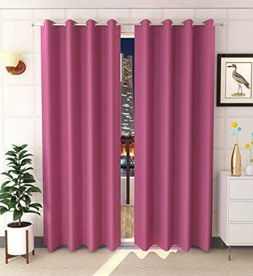 Decoscapes Blackout Curtains Heavy Solid 100% Thermal Insulated with Grommet Theatre Grade Curtains for Window Pack of 2 (Pink, 5 Feet) - Home Decor Lo