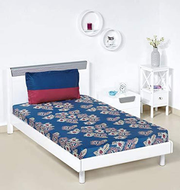 Amazon Brand - Solimo Floral Flakes 144 TC 100% Cotton Single Bedsheet with 1 Pillow Covers, Blue