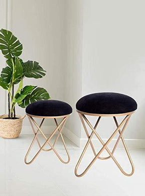 Nestroots Stool for Living Room Sitting Velvet Ottoman upholstered Foam Cushioned pouffe Puffy for Foot Rest Home Furniture with Golden Cross Legs Velvet (17