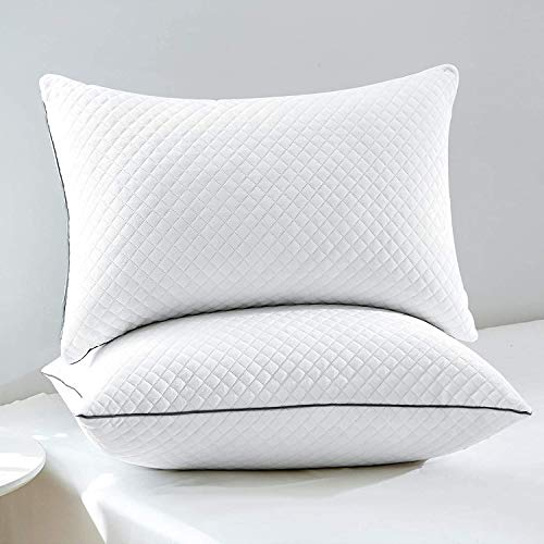 GOHOME Adjustable Bed Pillows for Sleeping 2 Pack, Soft Velvet Fabric Hotel Pillows, Hypoallergenic Down Alternative Pillows, for Side and Back Sleeper, 20