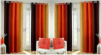Polyresin Print Grommet Door Curtain, 7 Ft, Orange, Pack of 4