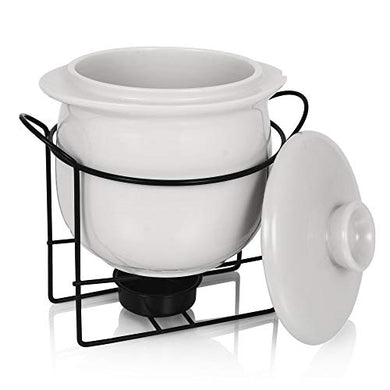 Urban Snackers Porcelain White Casserole -600ml, with lid and Metal Stand for Serving Food