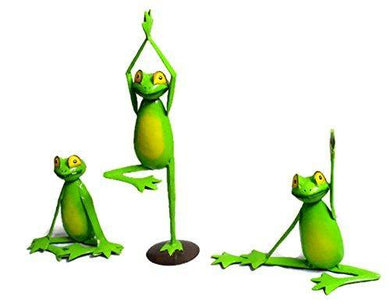 Set of 3 Yoga Frog Home Decor Garden Statue Hand Crafted Iron Sculpture - Home Decor Lo