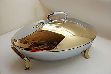 HomeTouch Stainless Steel Golden Food Warmer, Buono 2L Casserole, 10 Hours Warm