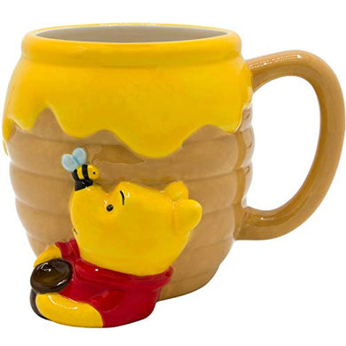Silver Buffalo Disney Winnie-the-Pooh Honey Pot 3D Sculpted Ceramic Coffee Cappuccino, Latte, Hot Cocoa, Soup Mug or Cereal, 23 Oz, Brown