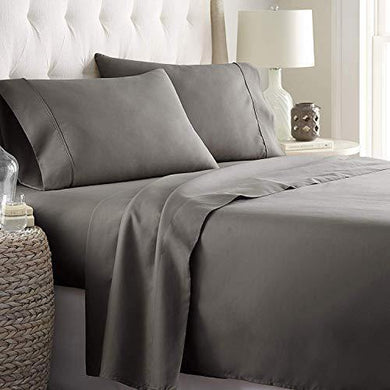 "Linenwalas Fitted Bedsheet Queen Size with Elastic| 400TC Thread Count Softest Long Staple 100% Cotton Silky Soft - Queen (60""x78"") - Charcoal Grey"