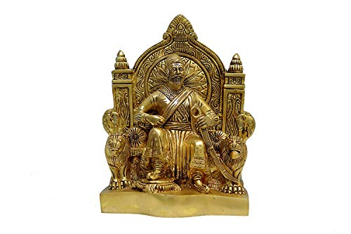 SimmSimm Brass Chhatrapati Shivaji Brass Handicraft Art (Multicoloured)