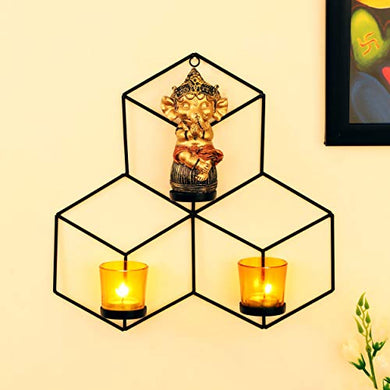 TIED RIBBONS Wall Hanging Tealight Candle Holder with Glass Votives and and Decoratives Figurine for Home Décor - Wall Sconce for Diwali Decoration Item