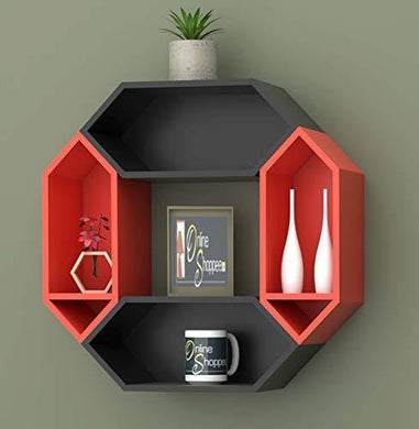 Onlineshoppee Pared Hexagon Floating Wall Shelf with 4 Shelves (Standard, Black: Orange)