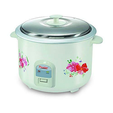 Prestige Delight Electric Rice Cooker PRWO 2.8-2 (1000 Watts) with 2 Aluminium Cooking Pans, Cooks Upto 1.7 kg Rice (Printed Flowers)