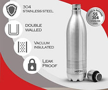 Load image into Gallery viewer, Milton Duo DLX 1000 Thermosteel 24 Hours Hot and Cold Water Bottle, 1 Litre, Silver