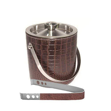 King International Stainless Steel Crocodile Print Leather Ice Bucket with Tong, 1750ml, Brown - Home Decor Lo