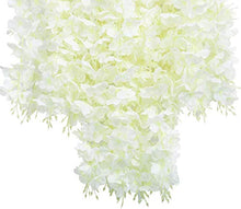 Load image into Gallery viewer, SHIMMER Pack 3.6 Feet Artificial Wisteria Vine Ratta Hanging Garland Silk Flowers String Home Party Wedding Decor ( White, Set of 8)
