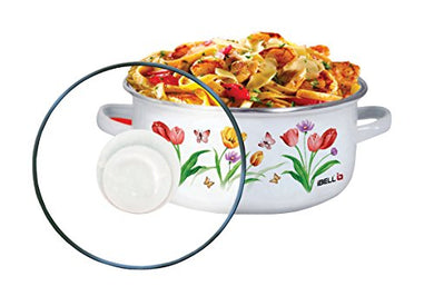 IBELL IBL ECS 206FL Decorative Enamel Ceramic Casserole with Sturdy Glass Lids, 20 cm, 2.2 L