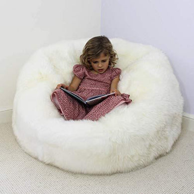 Bean Bag White Fur XXXL Size Without Beans Very Attractive And Luxury fur and leather Bean Bag - Home Decor Lo