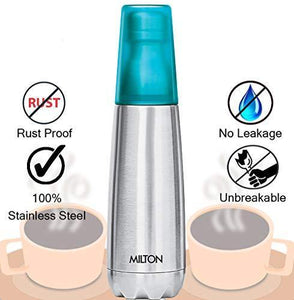 Milton Vertex -500 Thermosteel Water Bottle with Unbreakable Blue Tumbler, 500 ml, Blue