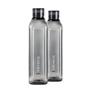 Cello Venice Plastic Water Bottle, 1 Litre, Set of 2, Black