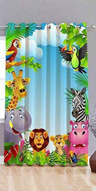 Amazin Homes Cartoon Jungle Animal 3D Digital Print Eyelet Polyester Door Curtain for Kids Room (Multicolour, 4X7 Feet) - Home Decor Lo