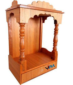VFH Temple Engineered Wooden Beautiful Pooja Room Plywood Mandir for Home (Height: 45 cm) Golden Brown