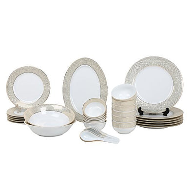 Decorium Designer New Kitchen Accesseries Porcelain 33 Pieces of Dinner Set/Dinnerware/Serveware Set, Ideal Place Setting Set, Round Assorted Dinner Set (15659)(Golden)