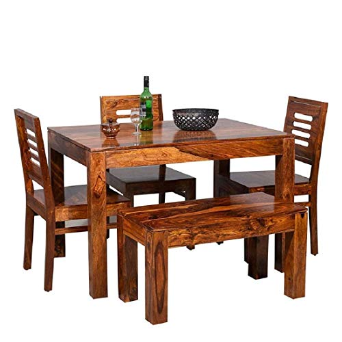 Eagle Furniture Wooden Solid Sheesham Wood Dining Table 4 Seater Dining Table Set with 3 Chairs & 1 Bench Dining Room Furniture Wood Dining Table 4 Seater | Honey Finish