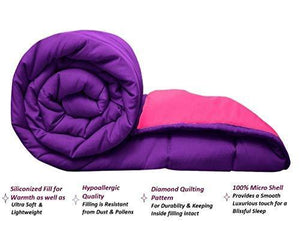 Omoroze Reversible Single Bed Quilt Comforter Blanket -Purple Pink(Soft Microfiber)