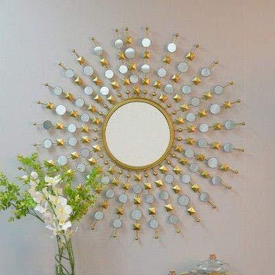 Furnish Craft Glass Wall Mirror (Gold_36 X 36 Inch) - Home Decor Lo