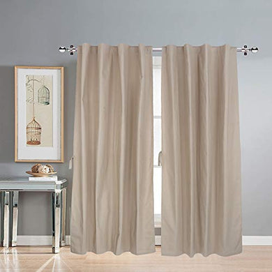 LINENWALAS Cotton Solid Grommet Doors Curtain, 4.5ft X 7ft, Beige, Pack of 2