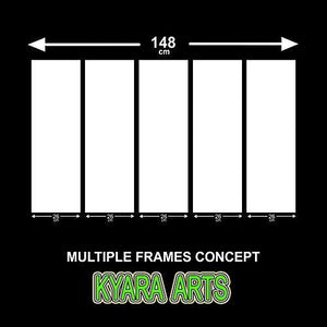 Kyara Arts Split Wall Painting in Multiple Frames || Wooden Framed Art Panels || 7mm Hard MDF Board Painting Ready to Hang-Beautiful Green Bamboo Digital Wall Painting || 5pcs (148cm x 76cm) - Home Decor Lo