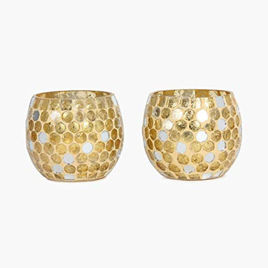 Home Centre Galaxy Bloom Mirror Work Votive Holder Set-2pcs - Gold