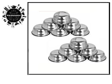 King International Stainless Steel Mini Sauce Bowls, 6 cm, Silver, 12 Piece