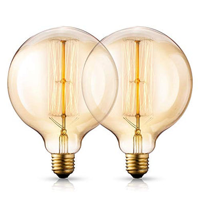 ISH Vintage Edison Bulbs,Antique Retro Incandescent Light Bulb 40W Squirrel Cage Filament Light Bulb G80 Classic Amber Glass E26/E27 Medium Base Dimmable (2 Pack)