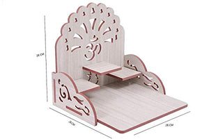 XYJIQS Handicrafts Home Decorative Wooden Temple/Pooja Mandir/Mandap/Wooden Mandir (Size : Medium) (White)