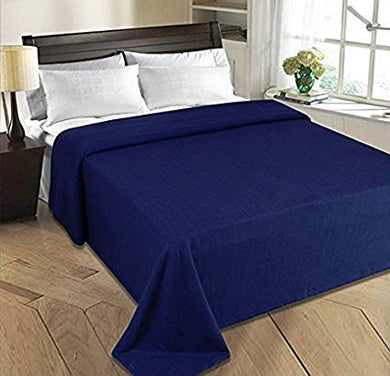 The Home Talk Double Bed Polar Fleece Ac Blanket, Light Throw Blanket for Tv Room Warm Soft bedsheet, Size 200 x 220 cm, GSM: 140, Weight 750 gm- Navy Blue