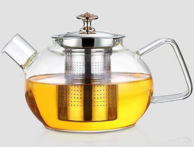 BMG Import Export Heat Resistant Flame Proof Clear Borosilicate Glass Kettle Stove Top Safe Blooming and Loose Tea Pot with Stainless Steel Infuser and Lid , 1000 ml - Home Decor Lo