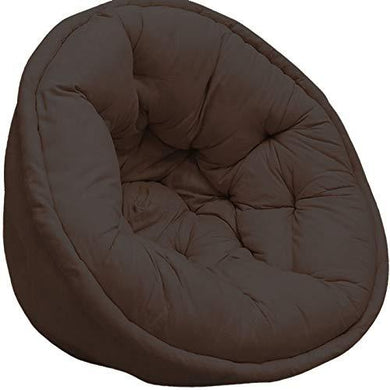 Dark Brown Organic Cotton Lap Pouffe - Home Decor Lo