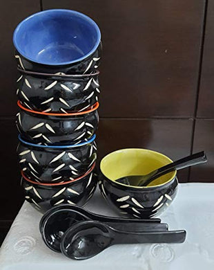LOTUM Elegant Soup Bowls (Set of 6) with Same Color Spoons Made in India (Black Soup Bowls)