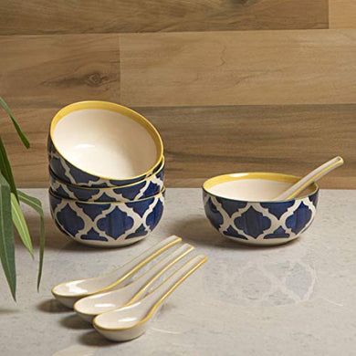 HS HINDUSTANI SAUDAGAR Ceramic Hand Painted Soup Bowls with Spoons, Set of 4 (Blue & Yellow)