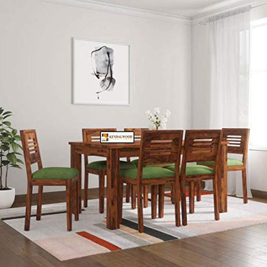 Hariom Handicraft KendalWood Furniture Sheesham Wood Teak Finish 6 Seater Dining Table with Chairs and Green Cushion Set