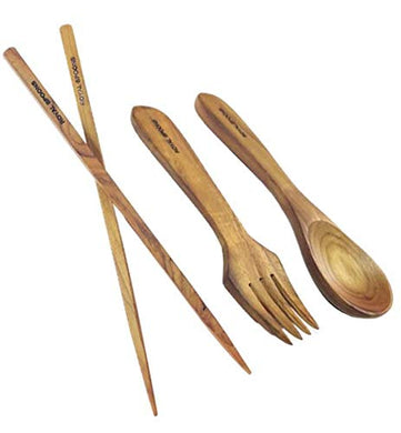 Royals Travel Kit Wooden Spoon, Fork and Chopsticks Set - Genuine Teak Wood Flatware Cutlery Set - Reusable, Washable and Durable (Set Chopsticks+Spoon+Fork)