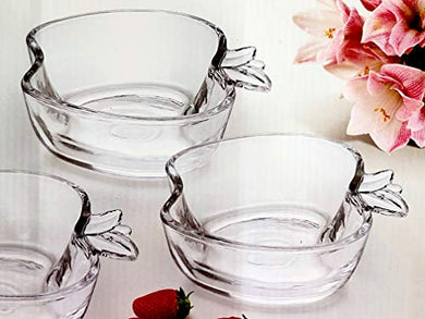 Saanveria Premium Quality Crystal Glass Serving Bowl Set in Glass for Snacks, Chutneys, Dips (Pack of 6)110ML