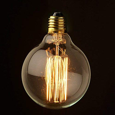Fizzytech 40W Vintage Antique Light Bulbs, E27 Round Style Bulb, Clear Glass, 220 Volts, Filament Light Bulbs for Home Light Fixtures Decorative, Dimmable(Warm White, 1 Unit)