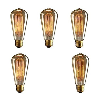 Prop It Up Vintage Incandescent Antique Dimmable Edison Bulb for Home Light Fixtures Squirrel Cage Filament E27 Base for Pendant Lighting, Wall Sconces, Ceiling Fan and Chandeliers - Pack of 5