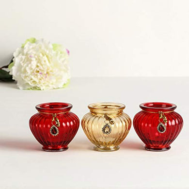 Home Centre Shalimar Fluted Votive Holder Set- Set of 3 Pcs - Multicolour