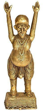 Exotic India Tribal Yoga Man - Brass Statue - Home Decor Lo
