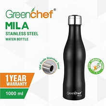 Load image into Gallery viewer, Greenchef Mila Stainless Steel Water Bottle (Black, 1000ml)