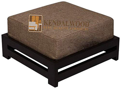 KendalWood Furniture Solid Sheesham Wooden Foot Stool for Kitchen, with Cushion, Dark Walnut