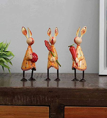 CraftVatika Iron Rabbit Handpainted Showpiece for Home Office Living Room Table Desk Decoration Decorative Gift Items (Set of 3)