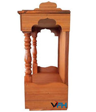 Load image into Gallery viewer, VFH Temple Engineered Wooden Beautiful Pooja Room Plywood Mandir for Home (Height: 45 cm) Golden Brown